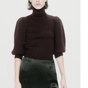 Zara Puff Sleeve Ribbed Turtleneck Dark Burgundy